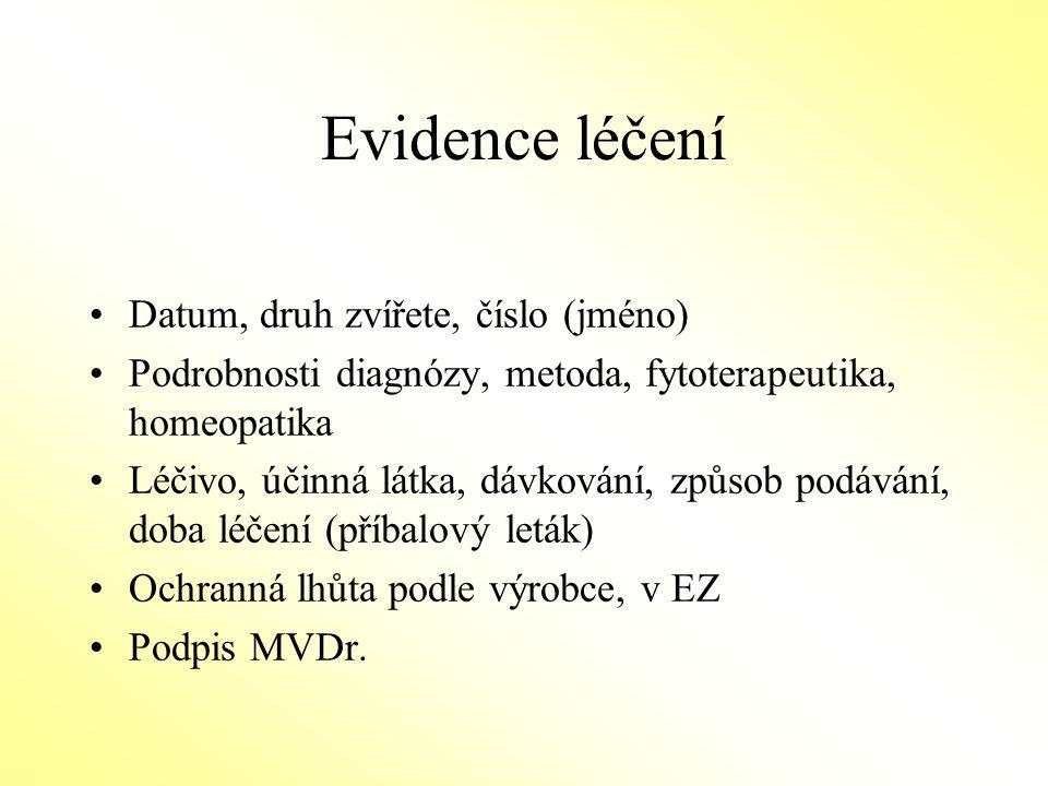 Evidence léčení Datum, druh zvířete, číslo (jméno)