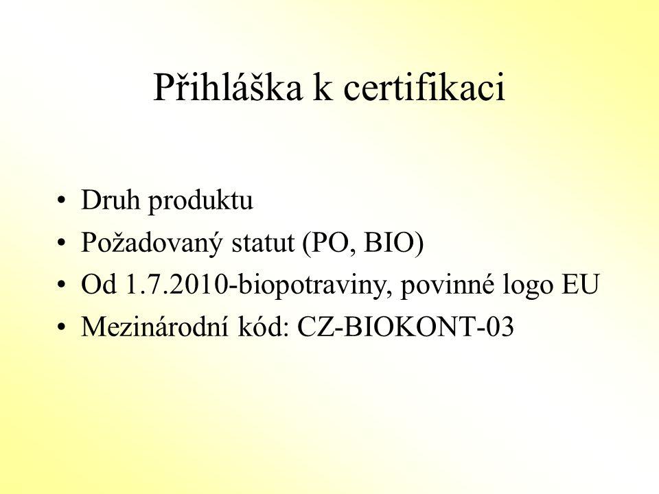 Přihláška k certifikaci