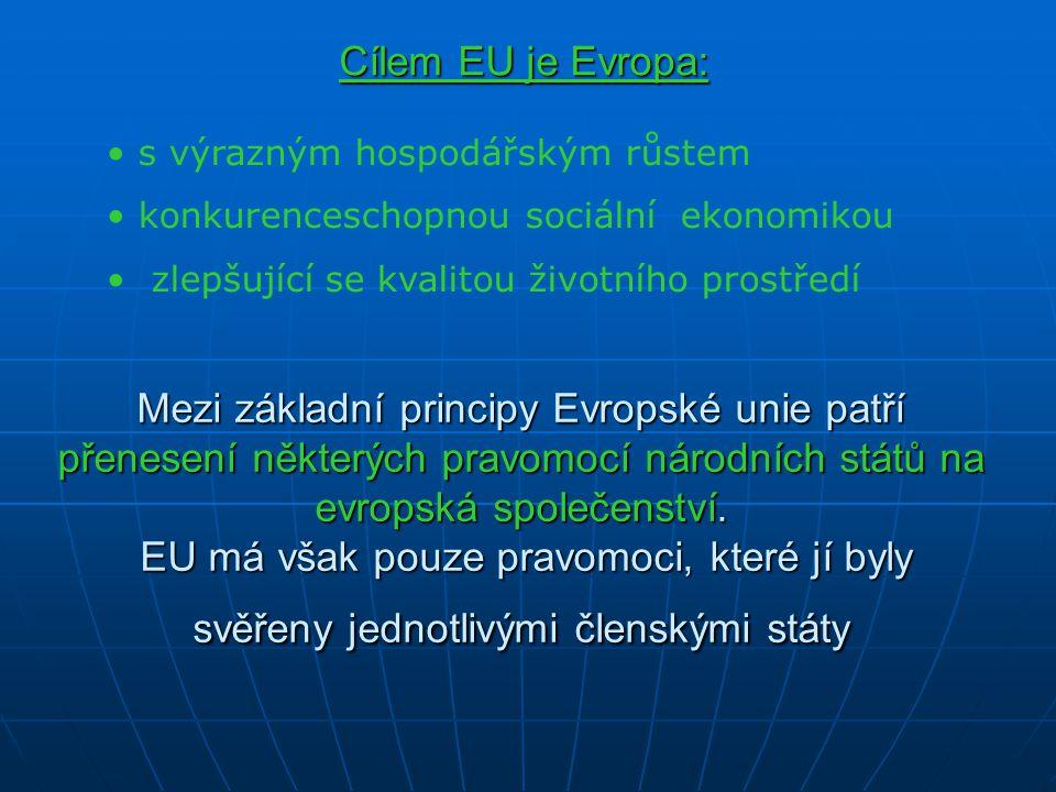 Cílem EU je Evropa: s výrazným hospodářským růstem. konkurenceschopnou sociální ekonomikou. zlepšující se kvalitou životního prostředí.