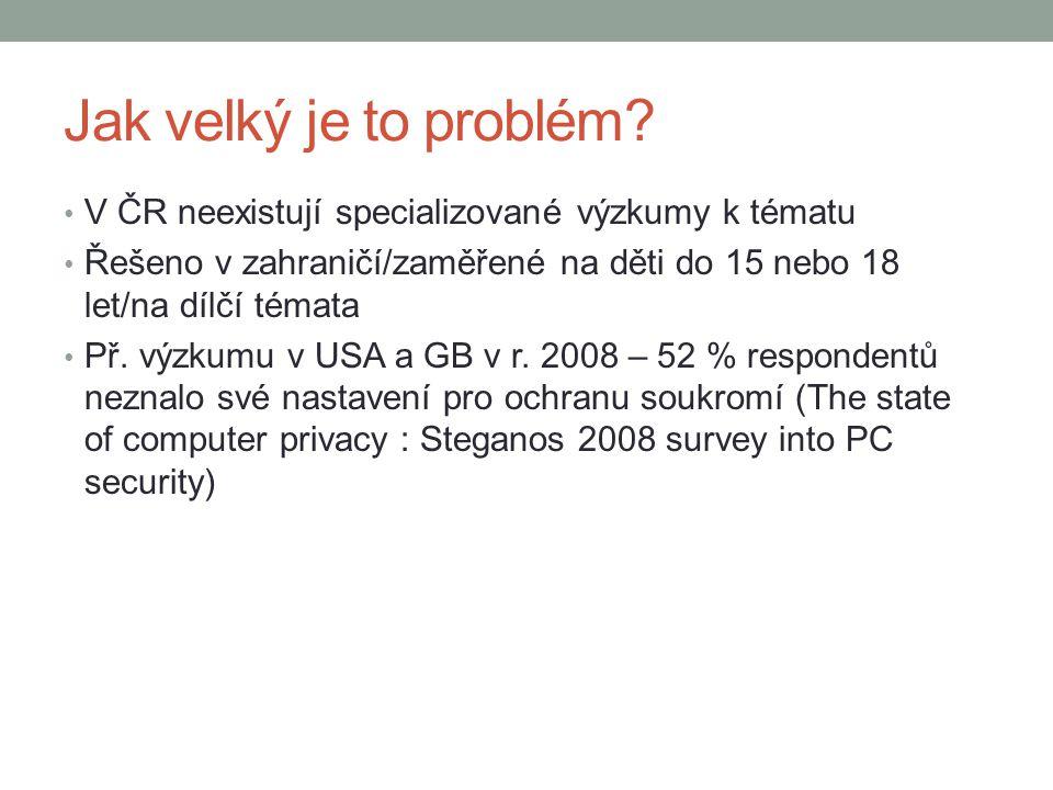 Jak velký je to problém V ČR neexistují specializované výzkumy k tématu. Řešeno v zahraničí/zaměřené na děti do 15 nebo 18 let/na dílčí témata.
