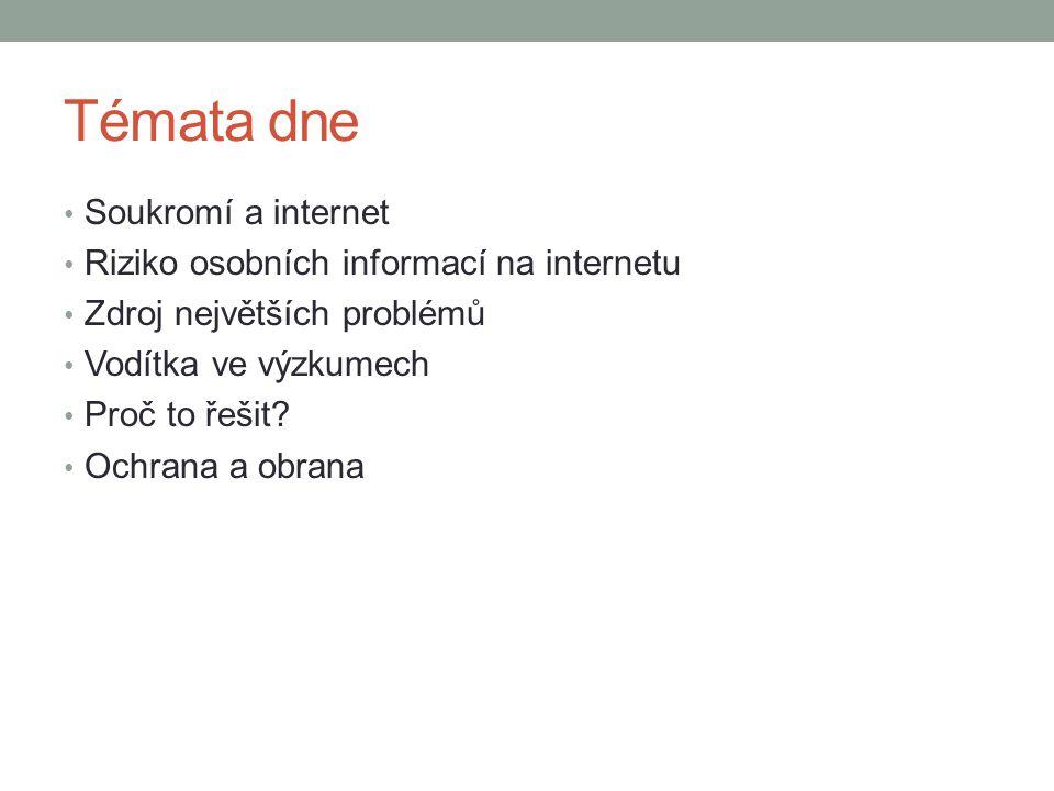 Témata dne Soukromí a internet Riziko osobních informací na internetu