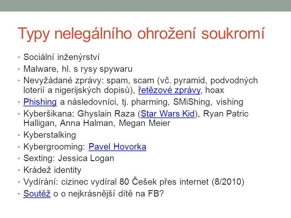 Typy nelegálního ohrožení soukromí
