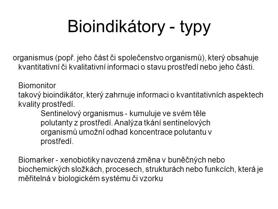 Bioindikátory - typy