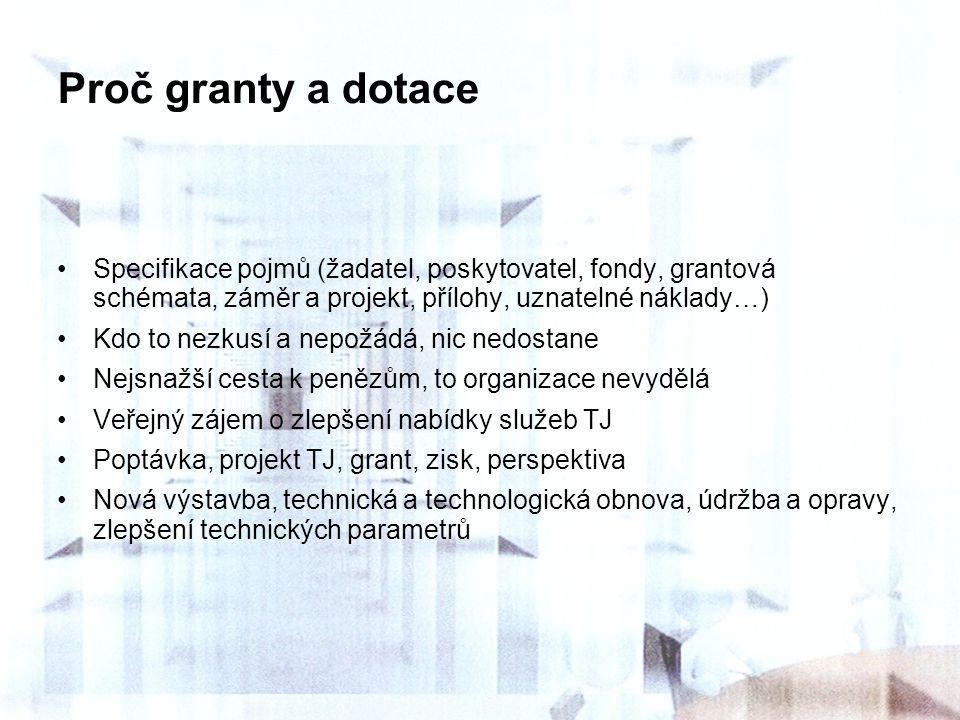 Proč granty a dotace Specifikace pojmů (žadatel, poskytovatel, fondy, grantová schémata, záměr a projekt, přílohy, uznatelné náklady…)