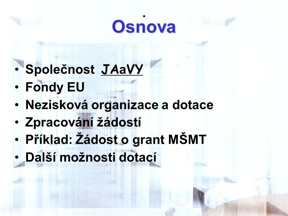. Osnova Společnost JAaVY Fondy EU Nezisková organizace a dotace