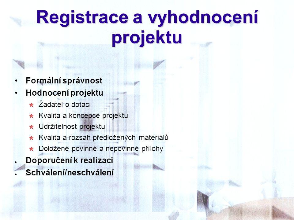 Registrace a vyhodnocení projektu