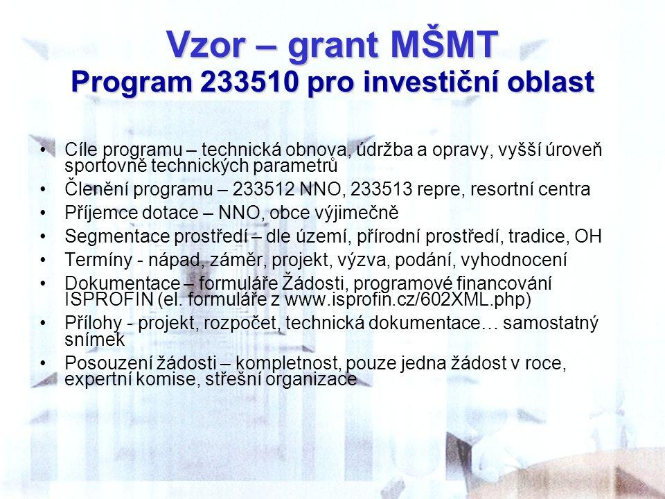 Vzor – grant MŠMT Program 233510 pro investiční oblast