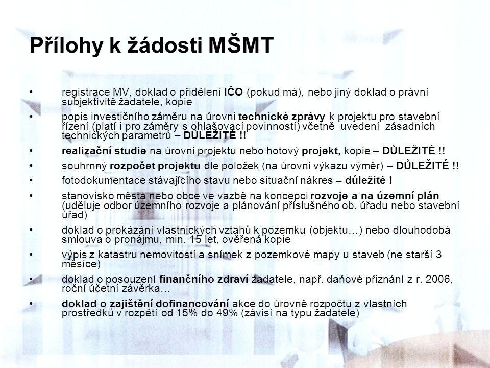 Přílohy k žádosti MŠMT registrace MV, doklad o přidělení IČO (pokud má), nebo jiný doklad o právní subjektivitě žadatele, kopie.