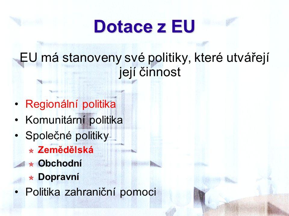 EU má stanoveny své politiky, které utvářejí její činnost