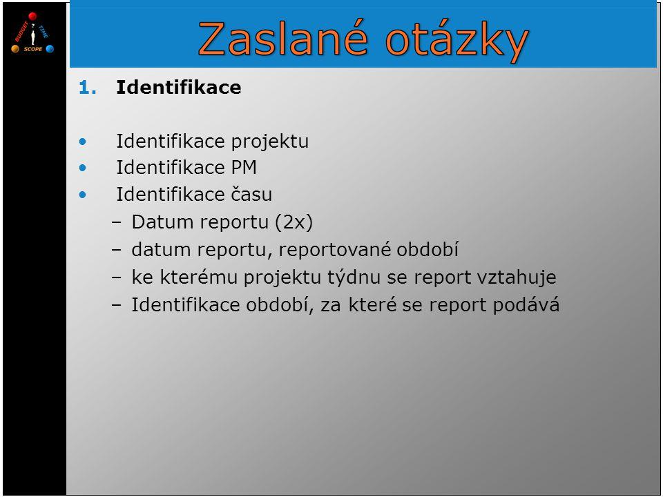 Identifikace projektu Identifikace PM Identifikace času