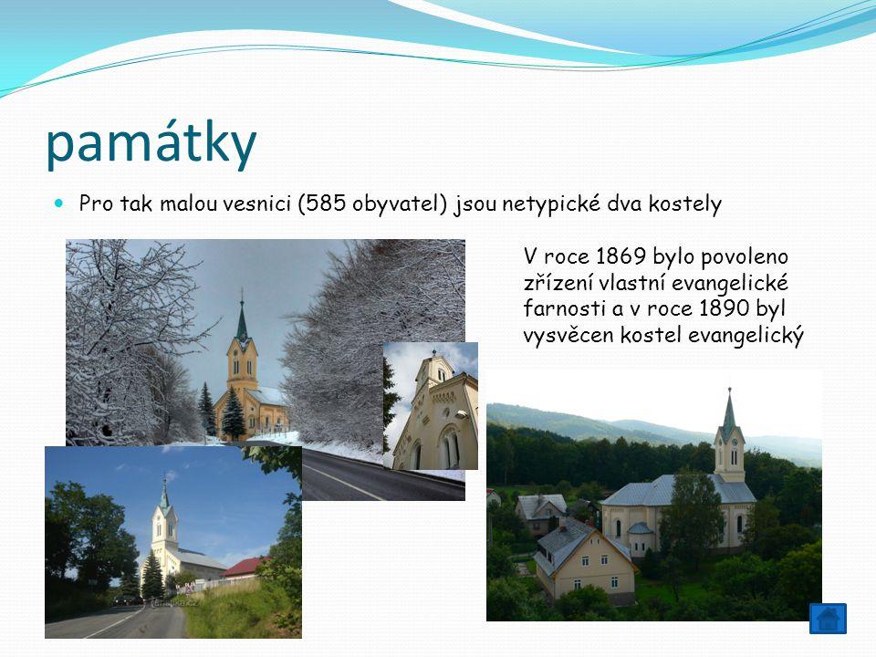 památky Pro tak malou vesnici (585 obyvatel) jsou netypické dva kostely.