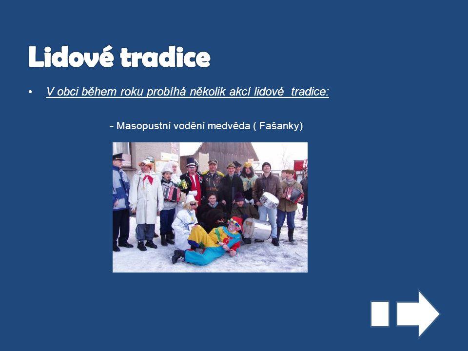 Lidové tradice V obci během roku probíhá několik akcí lidové tradice: