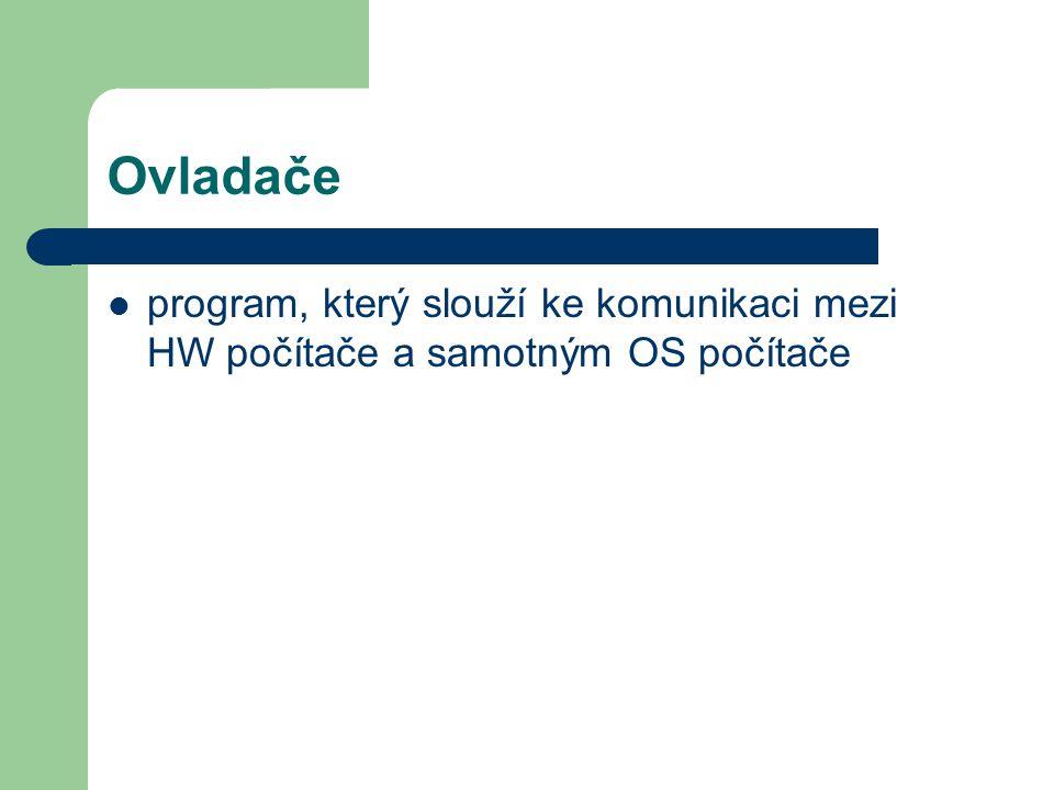 Ovladače program, který slouží ke komunikaci mezi HW počítače a samotným OS počítače