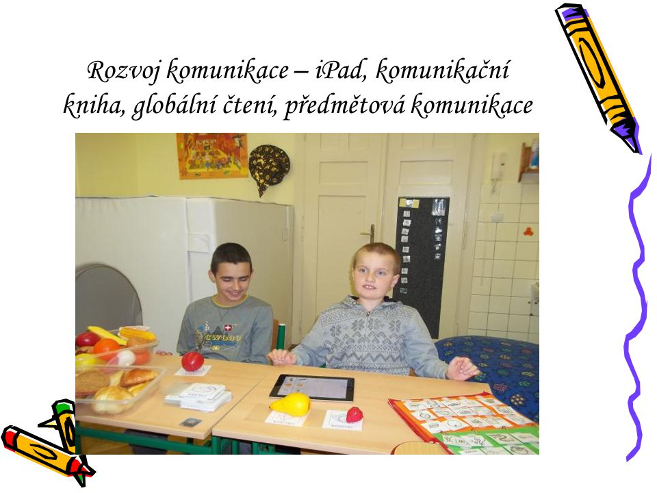 Rozvoj komunikace – iPad, komunikační kniha, globální čtení, předmětová komunikace