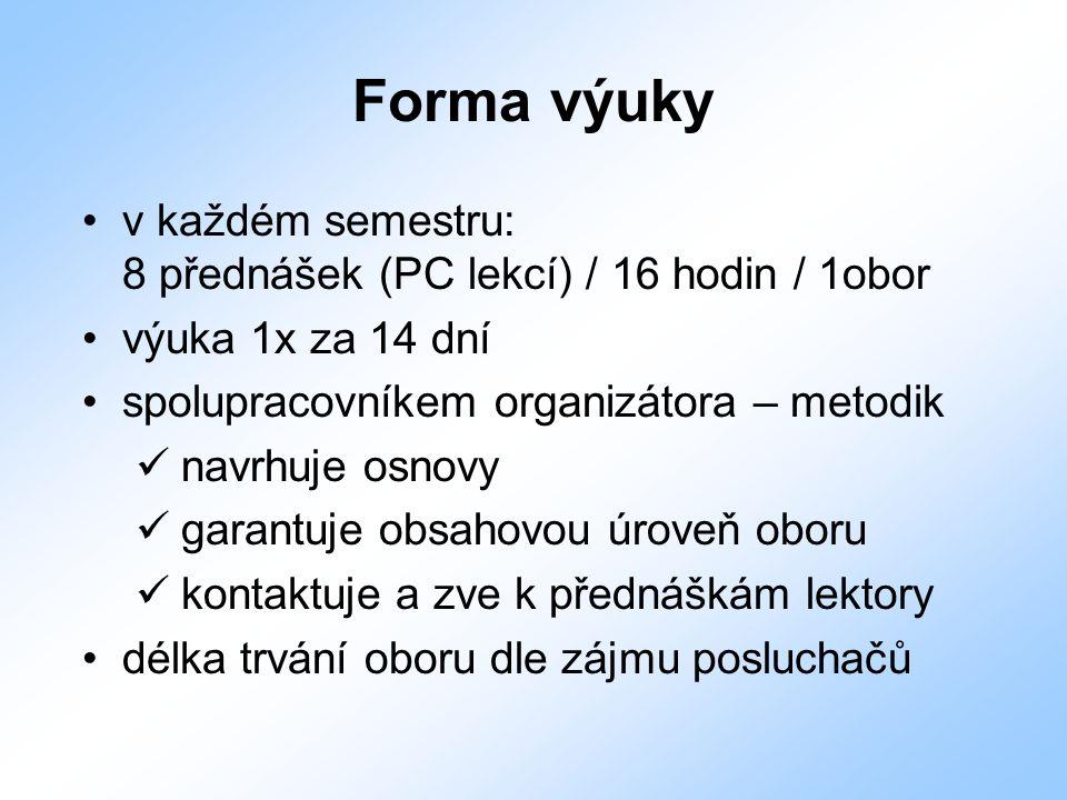Forma výuky v každém semestru: 8 přednášek (PC lekcí) / 16 hodin / 1obor. výuka 1x za 14 dní. spolupracovníkem organizátora – metodik.