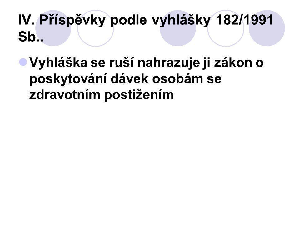 IV. Příspěvky podle vyhlášky 182/1991 Sb..
