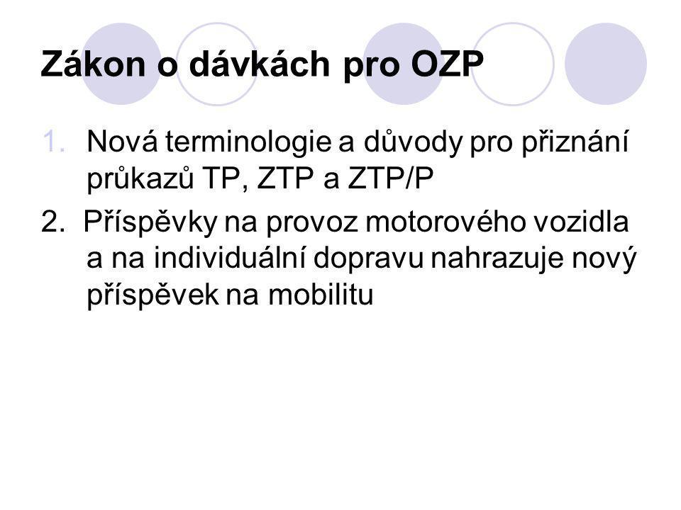 Zákon o dávkách pro OZP Nová terminologie a důvody pro přiznání průkazů TP, ZTP a ZTP/P.