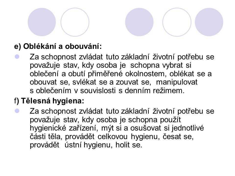 e) Oblékání a obouvání: