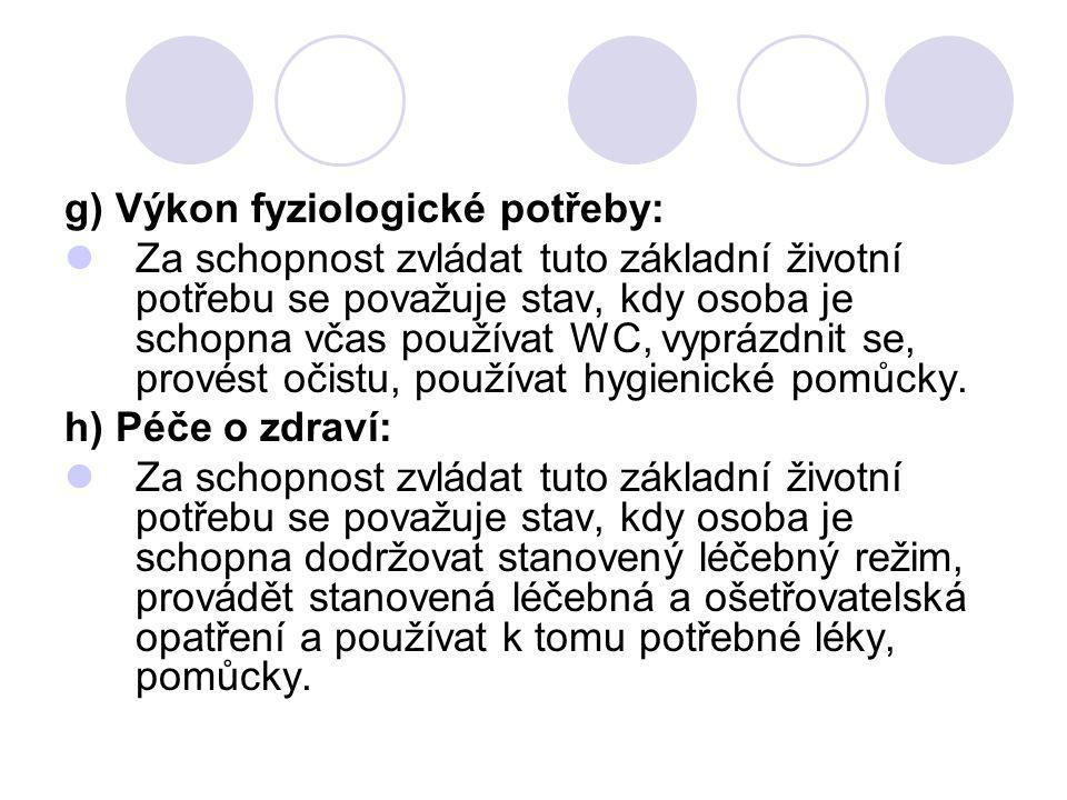 g) Výkon fyziologické potřeby: