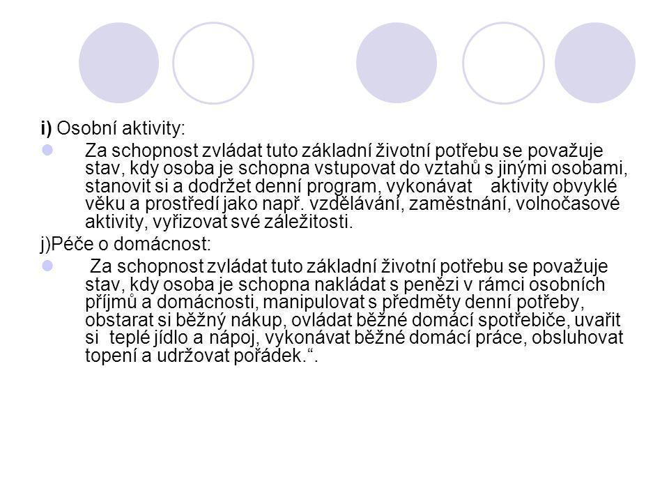 i) Osobní aktivity: