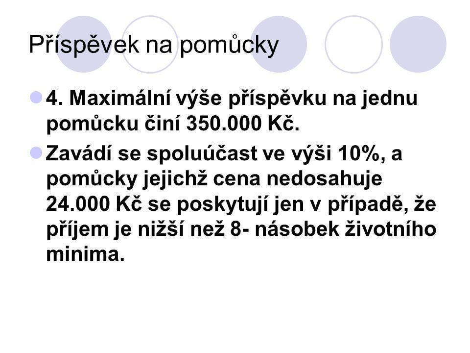 Příspěvek na pomůcky 4. Maximální výše příspěvku na jednu pomůcku činí 350.000 Kč.
