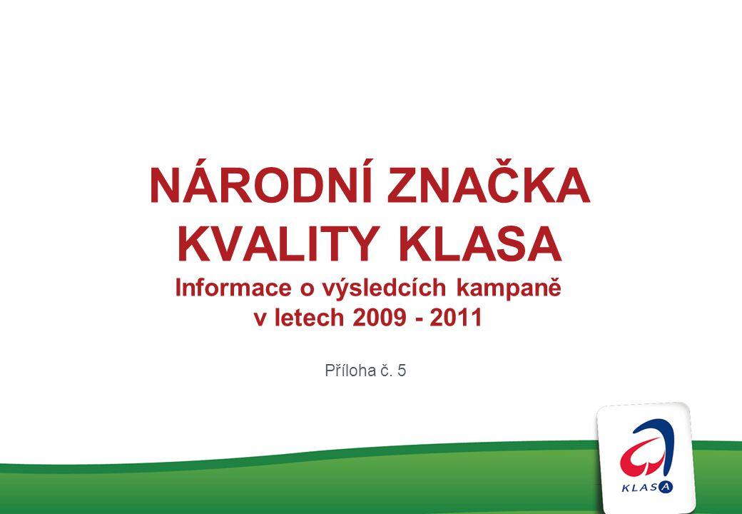 NÁRODNÍ ZNAČKA KVALITY KLASA Informace o výsledcích kampaně v letech 2009 - 2011