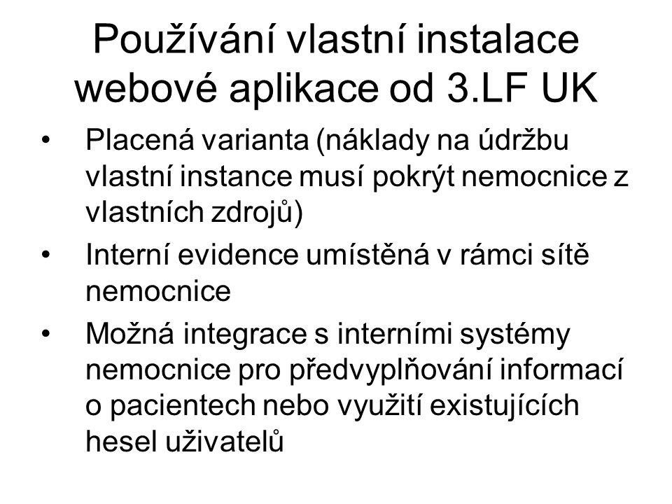 Používání vlastní instalace webové aplikace od 3.LF UK