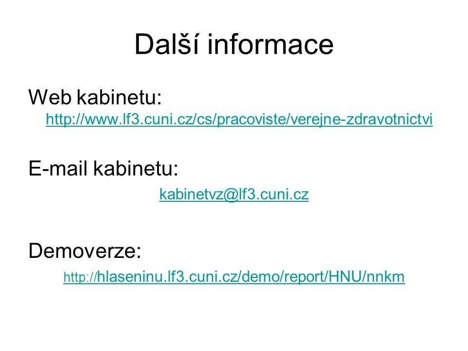 Další informace Web kabinetu: http://www.lf3.cuni.cz/cs/pracoviste/verejne-zdravotnictvi. E-mail kabinetu: