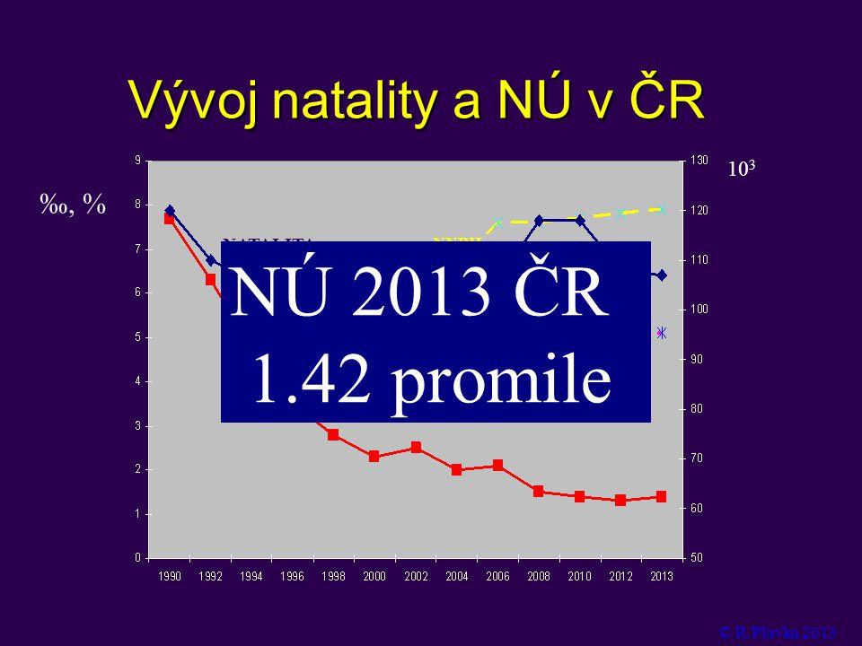 NÚ 2013 ČR 1.42promile Vývoj natality a NÚ v ČR ‰, % 103 NÚ NATALITA