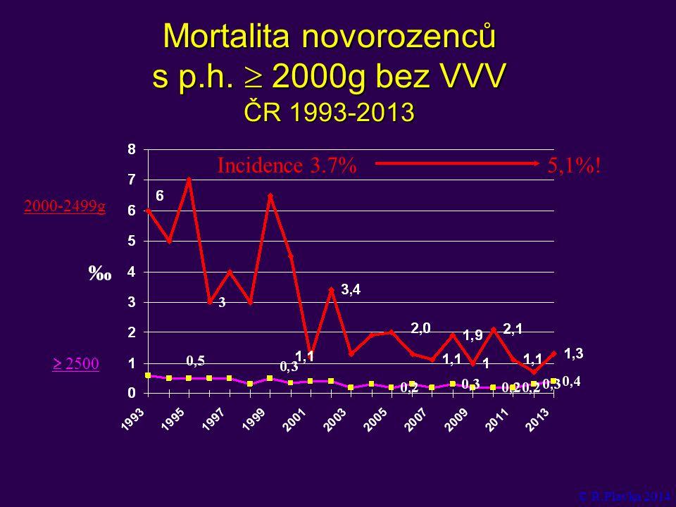 Mortalita novorozenců s p.h.  2000g bez VVV ČR 1993-2013