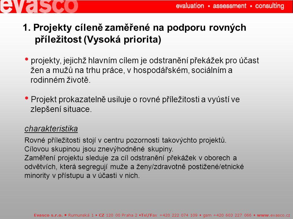 1. Projekty cíleně zaměřené na podporu rovných