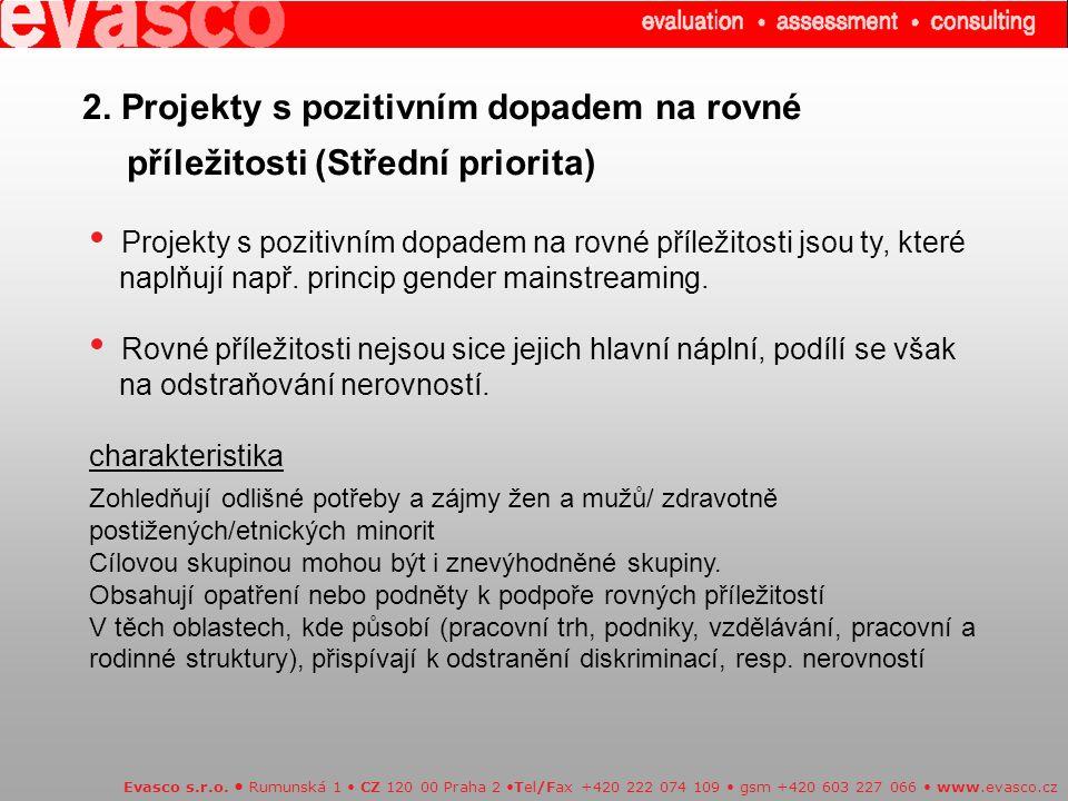 2. Projekty s pozitivním dopadem na rovné