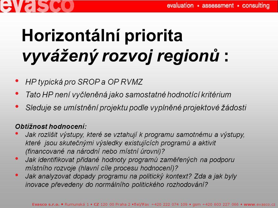 Horizontální priorita vyvážený rozvoj regionů :