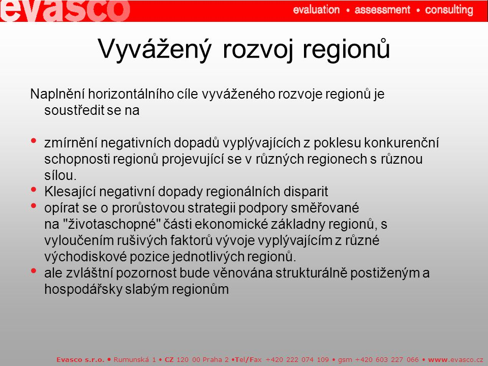 Vyvážený rozvoj regionů