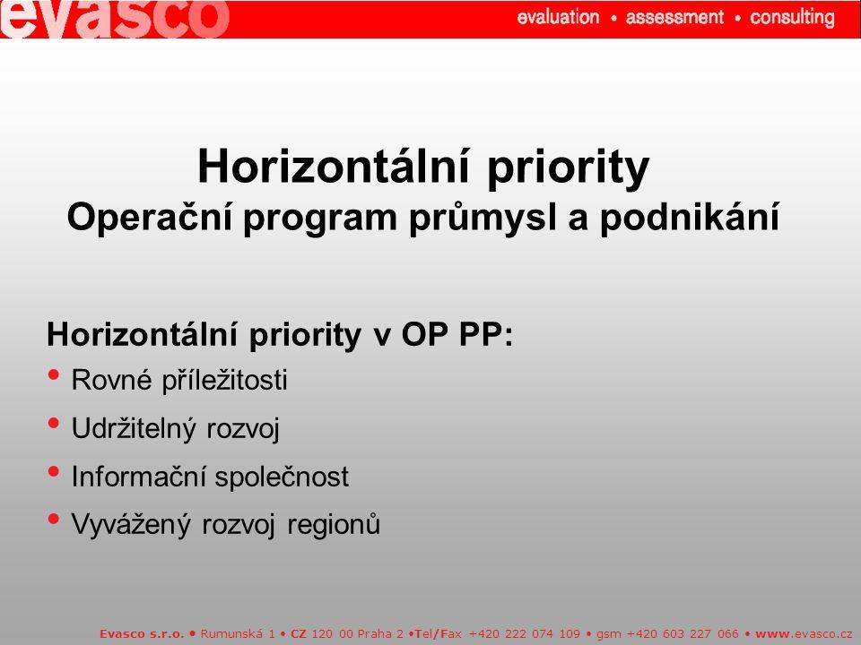 Horizontální priority Operační program průmysl a podnikání
