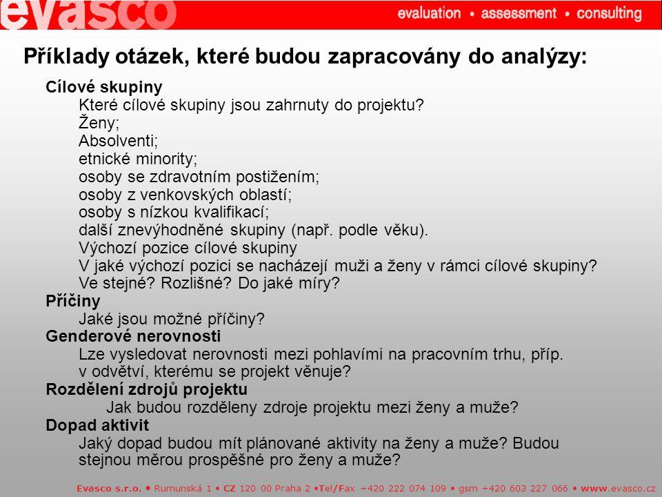 Příklady otázek, které budou zapracovány do analýzy: