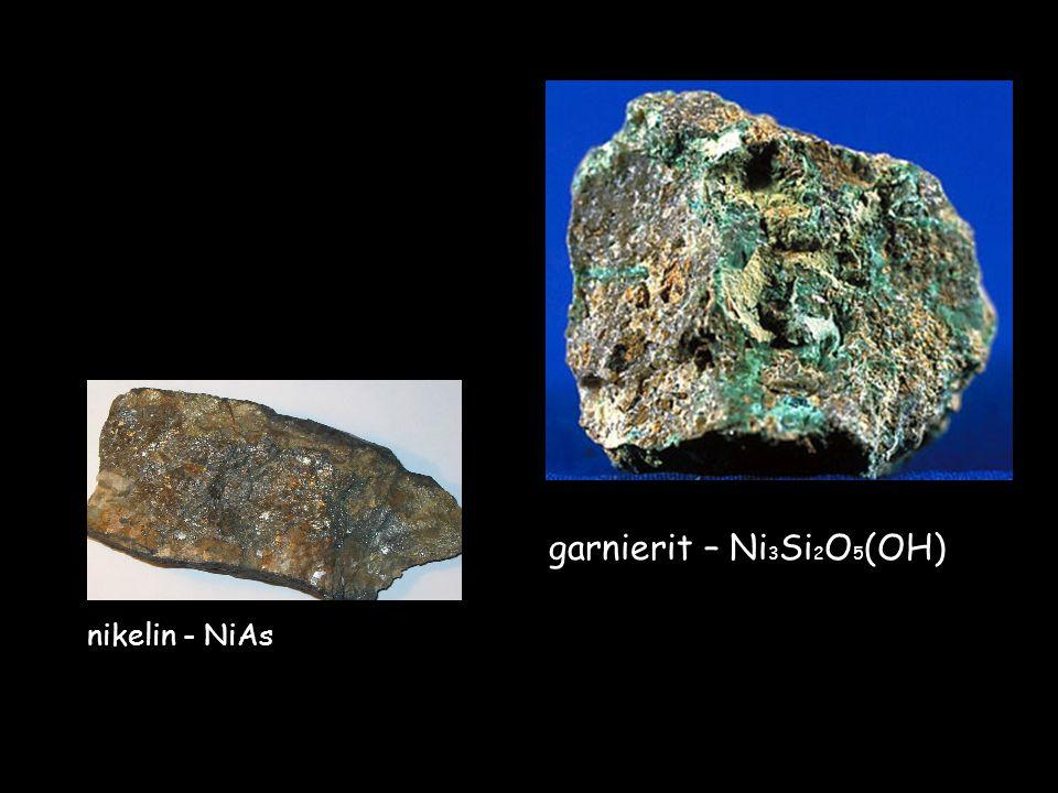 nikelin - NiAs garnierit – Ni3Si2O5(OH)