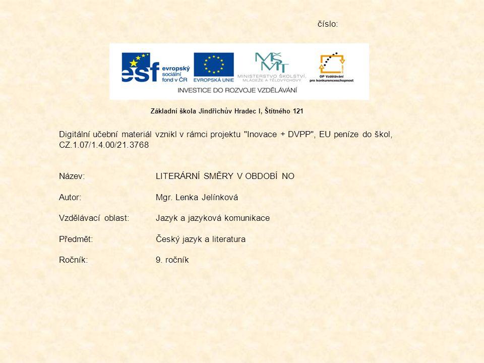 Název: LITERÁRNÍ SMĚRY V OBDOBÍ NO Autor: Mgr. Lenka Jelínková