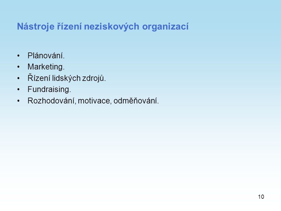 Nástroje řízení neziskových organizací
