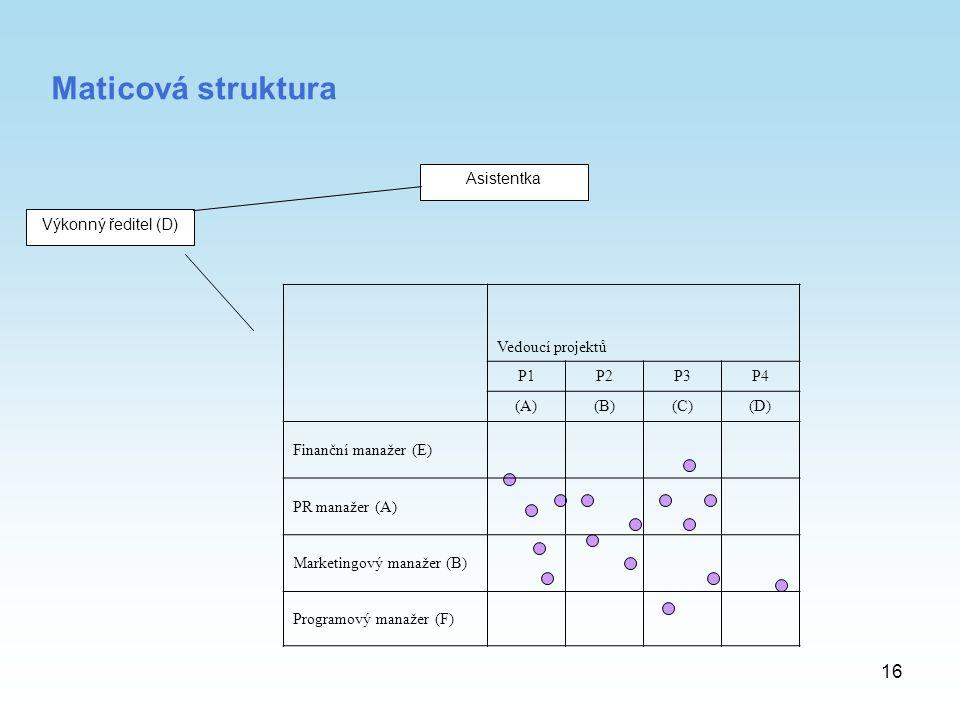 Maticová struktura Asistentka Výkonný ředitel (D) Vedoucí projektů P1