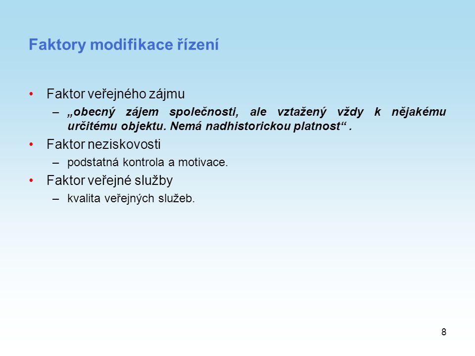 Faktory modifikace řízení