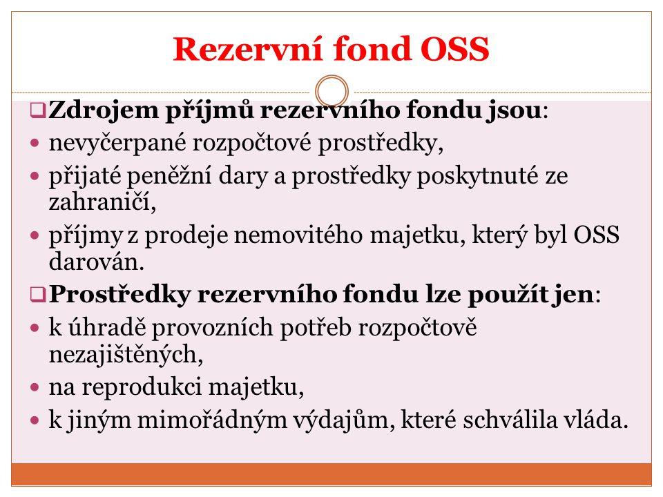 Rezervní fond OSS Zdrojem příjmů rezervního fondu jsou: