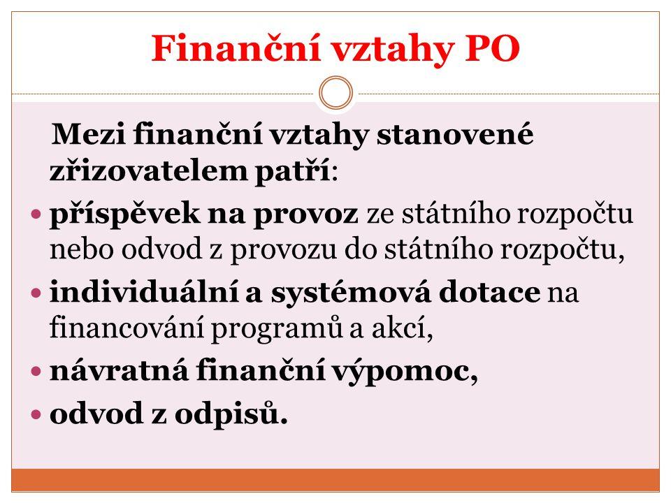 Finanční vztahy PO Mezi finanční vztahy stanovené zřizovatelem patří: