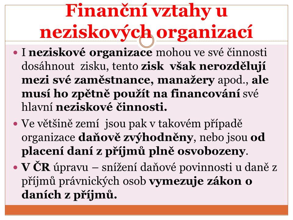 Finanční vztahy u neziskových organizací