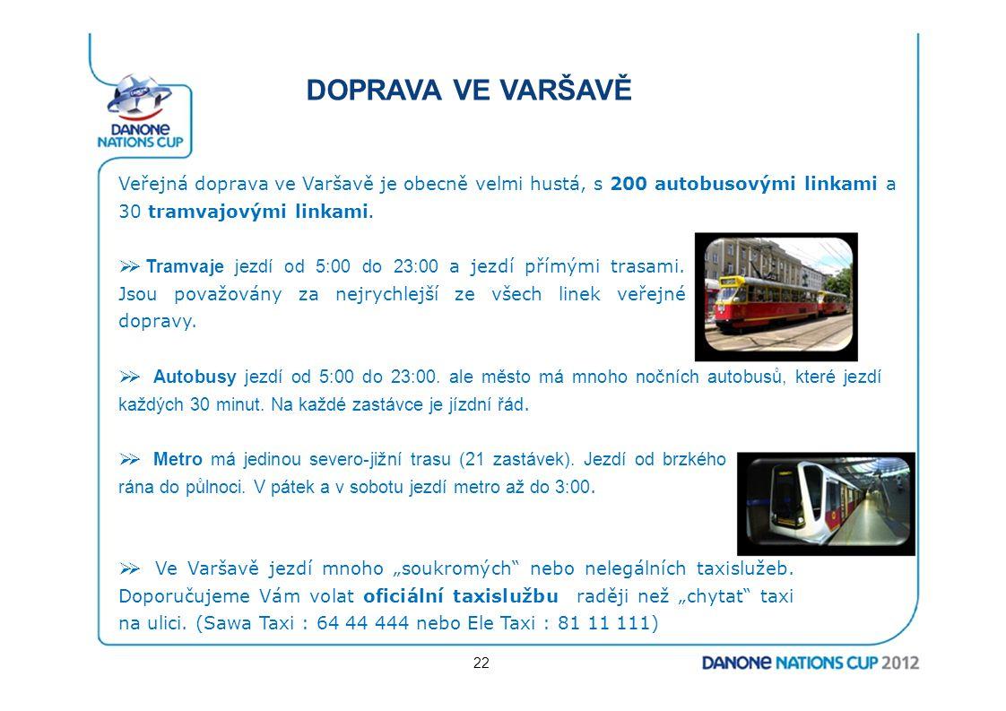 DOPRAVA VE VARŠAVĚ Veřejná doprava ve Varšavě je obecně velmi hustá, s 200 autobusovými linkami a 30 tramvajovými linkami.
