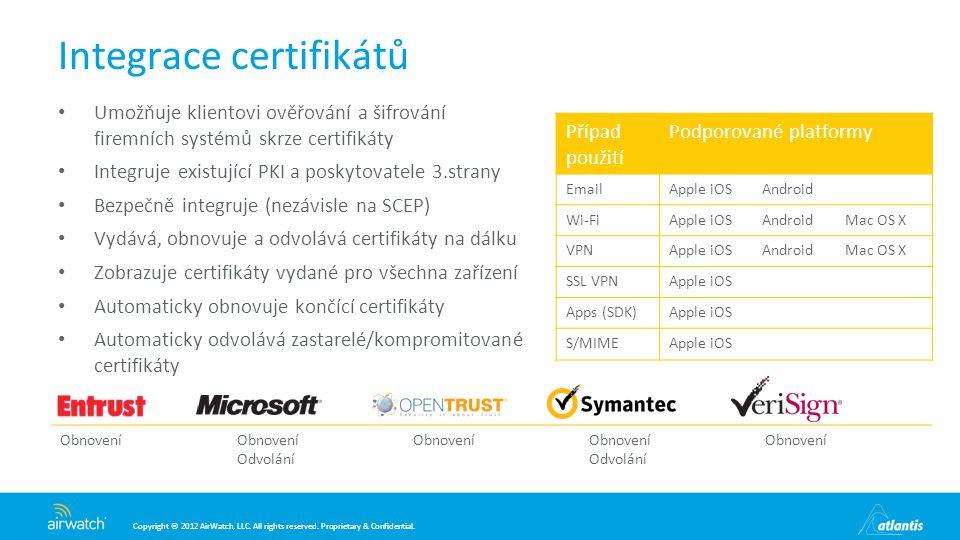 Integrace certifikátů
