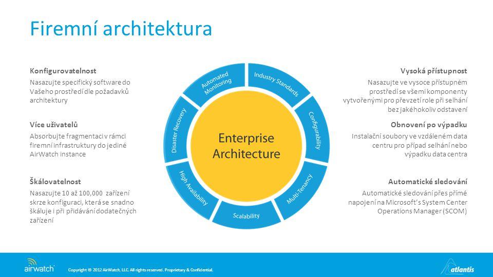 Firemní architektura Škálovatelnost Konfigurovatelnost Více uživatelů