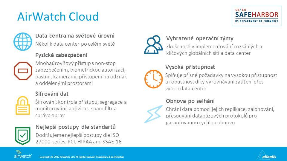 AirWatch Cloud Data centra na světové úrovni Vyhrazené operační týmy