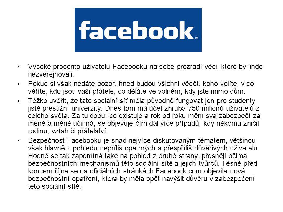 Vysoké procento uživatelů Facebooku na sebe prozradí věci, které by jinde nezveřejňovali.