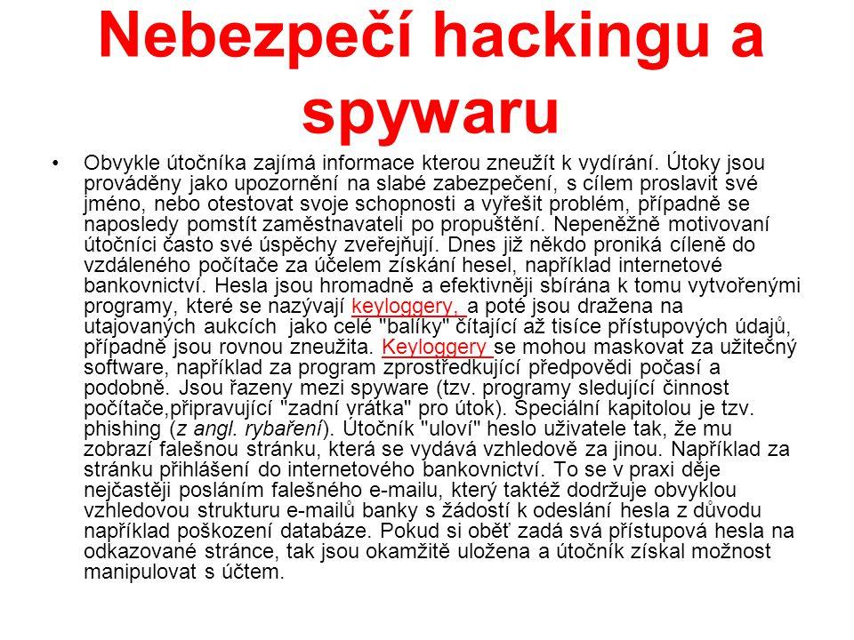 Nebezpečí hackingu a spywaru